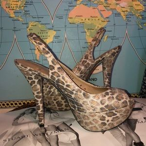 Stuart Weitzman leopard animal platform heels